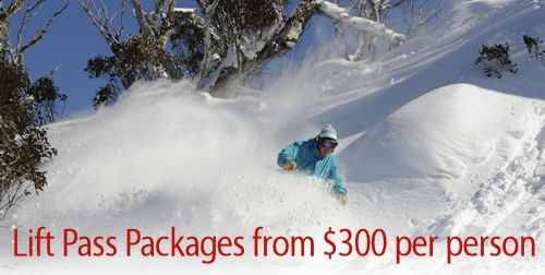 A Skier powder skiiing with an excellent Thredbo package from $300 per person