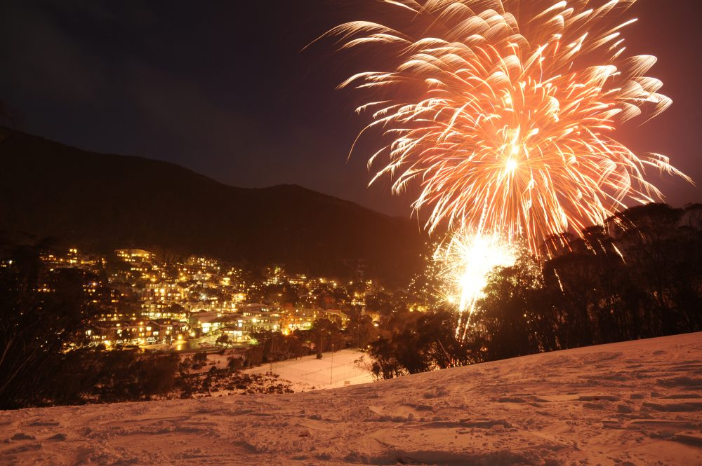 Thredbo Fireworks above the village