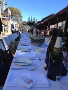 The Long Lunch Table in Thredbo's Village Square