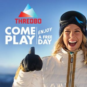 Torah Bright Smiling in a Thredbo Banner