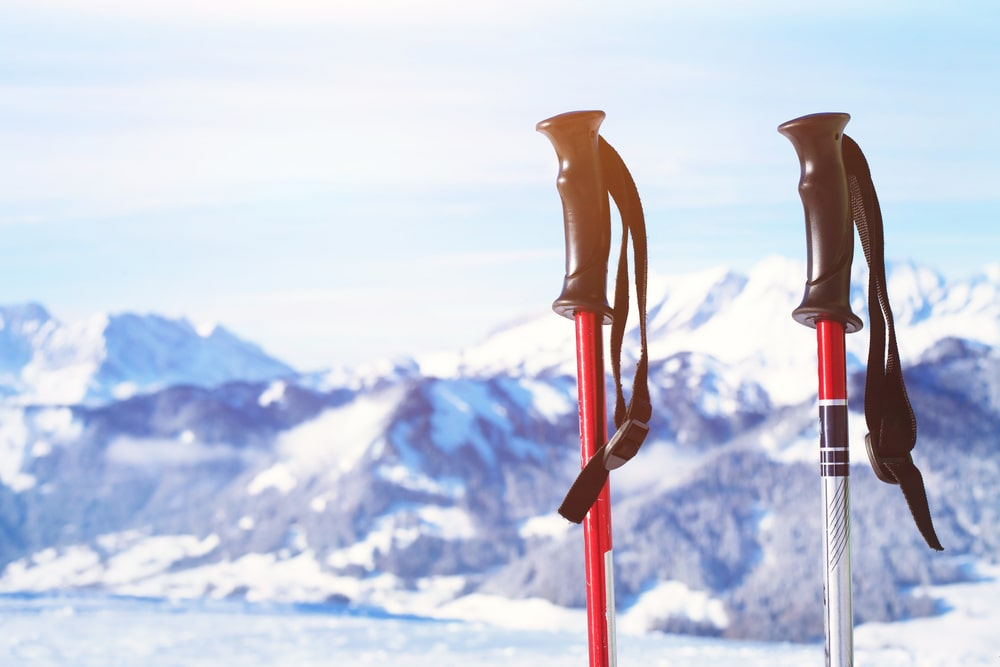 two hiking snow poles