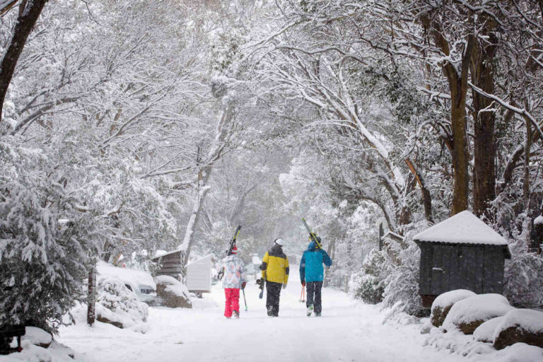 Fresh Snow falls in Thredbo Village