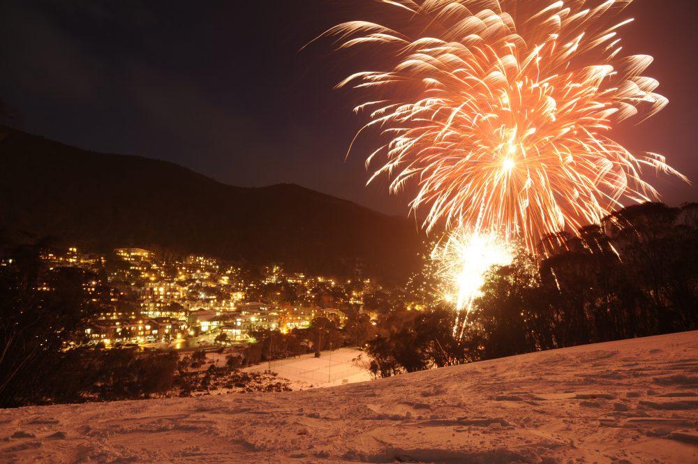 Thredbo Fireworks above the village